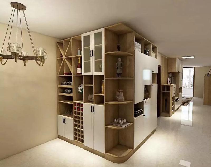 拥有圆弧形角柜不怕造成磕碰的问题,酒柜设计米字形,酒格,摆放处,都